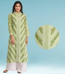 Ada Hand Embroidered Green Cotton Lucknow Chikankari Kurti
