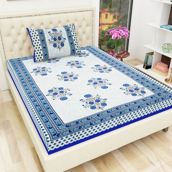 Jaipuri Cotton TC120 Hand Block Printed Floral Single Bedsheet with One Pillow Cover