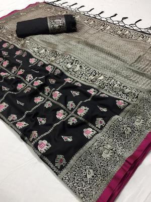 Black color Banarasi silk saree