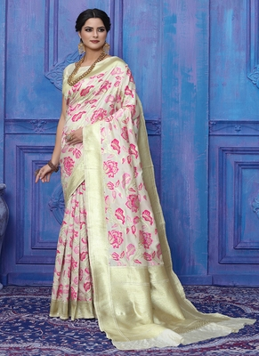Cream woven silk blend saree with blouse