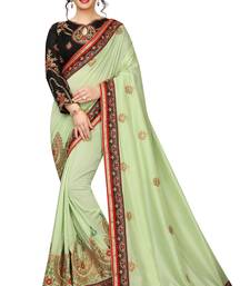 pista embroidered silk blend saree with blouse