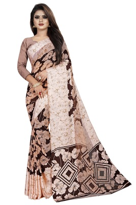 Coffee woven satin saree with blouse