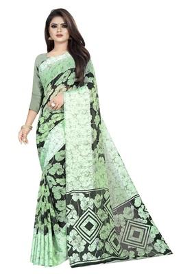 Light parrot green woven satin saree with blouse
