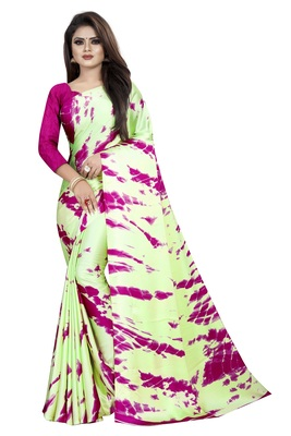 Light parrot green woven crepe saree with blouse