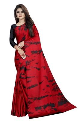 Orange woven crepe saree with blouse