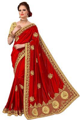 Red Embroidered Fashion art Silk Saree with blouse