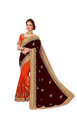 Brown and Orange Embroidered art Silk Saree with blouse