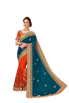 Peach and Orange Embroidered Fashion art Silk Saree with blouse