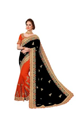 Black and Orange Embroidered art Silk Saree with blouse