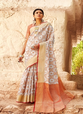 light grey woven silk blend saree with blouse
