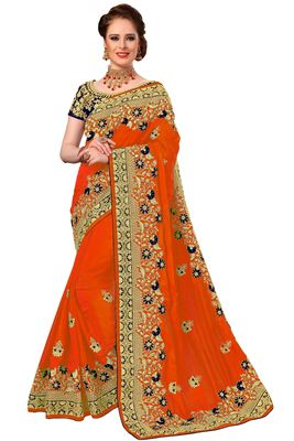 Orange Embroidered art silk Sarees with blouse