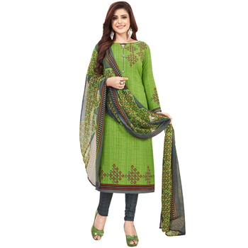 Green floral print synthetic unstitched salwar with dupatta