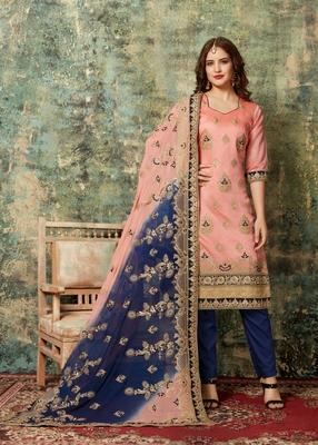Light-pink embroidered chanderi salwar
