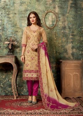 Gold embroidered chanderi salwar