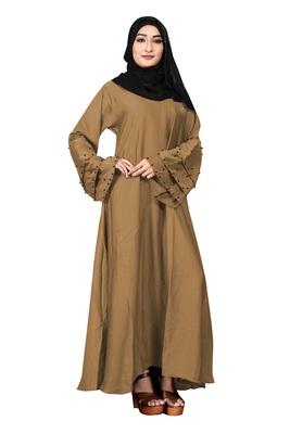 Justkartit Black Beads Work Daily Wear Nida Abaya Burkha With Chiffon Hijab Dupatta