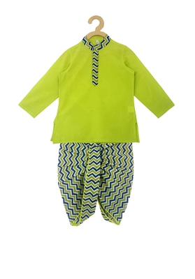 Green printed cotton boys-dhoti-kurta