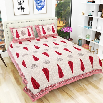 Jaipuri Hand Print 100% Cotton King Size Bedsheet with 2 Pillow Covers