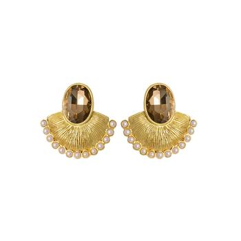 Gold crystal chandbali