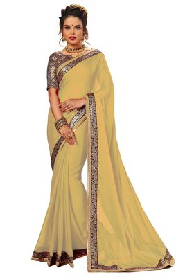 beige plain chiffon saree with blouse