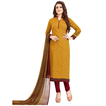 Yellow floral print synthetic unstitched salwar with dupatta