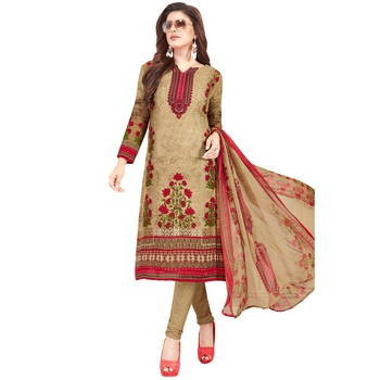 Beige floral print synthetic unstitched salwar with dupatta