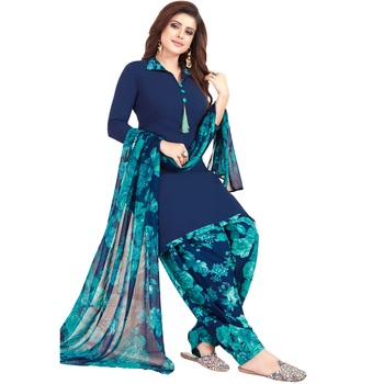 Dark-navy-blue floral print synthetic unstitched salwar with dupatta