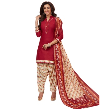 Maroon floral print cotton unstitched salwar with dupatta