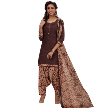Brown floral print cotton unstitched salwar with dupatta