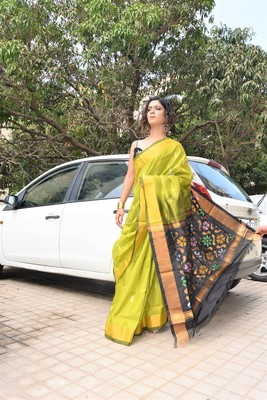 Olive hand woven silk saree with blouse
