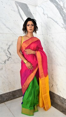 Pink hand woven silk saree with blouse