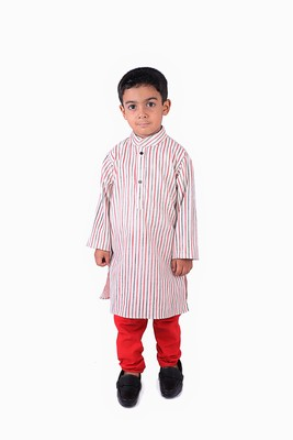 Cotton Khadi Red and Black Strips with Red Chudidar