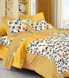 Yellow Cotton King Size Double Bedsheet with Pillow Cover
