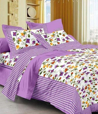 Purple & White Cotton King Size Double Bedsheet with Pillow Cover