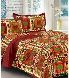 Maroon Cotton King Size Double Bedsheet with Pillow Cover