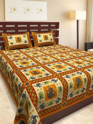 Multicolor Cotton King Size Double Bedsheet with Pillow Cover