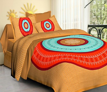 Multicolor Jaipuri Cotton King Size Double Bedsheet with Pillow Cover