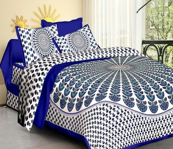 Blue & White Jaipuri Cotton King Size Double Bedsheet with Pillow Cover