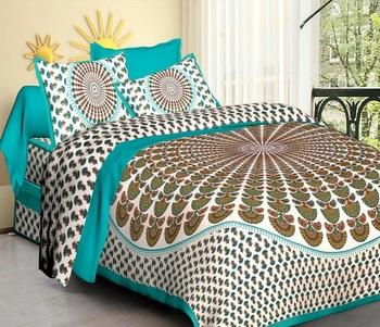 Sea Green & White Cotton Jaipuri King Size Double Bedsheet with Pillow Cover
