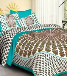 Sea Green & White Cotton Jaipuri King Size Double Bedsheet with Pillow Cover