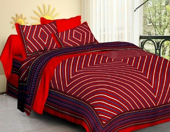 Jaipuri Cotton Red & Blue King Size Double Bedsheet with Pillow Cover