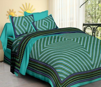 Sea Green Cotton King Size Double Bedsheet with Pillow Cover