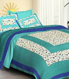 Sea Green Cotton Jaipuri King Size Double Bedsheet with Pillow Cover