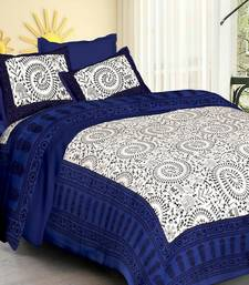White & Blue Jaipuri Cotton King Size Double Bedsheet with Pillow Cover