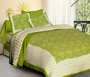 Green Cotton Jaipuri King Size Double Bedsheet with Pillow Cover