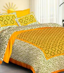 Yellow Cotton Jaipuri King Size Double Bedsheet with Pillow Cover
