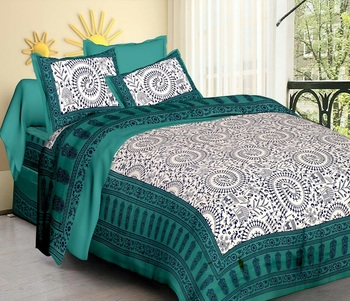 White & Aqua Cotton Jaipuri King Size Double Bedsheet with Pillow Cover