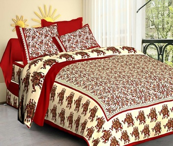Multi Cotton Jaipuri King Size Double Bedsheet with Pillow Cover