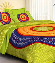 Light Green Cotton Jaipuri King Size Double Bedsheet with Pillow Cover