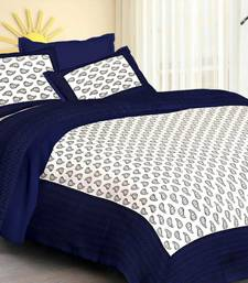 White & Blue Cotton Jaipuri King Size Double Bedsheet with Pillow Cover