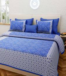 Blue Cotton King Size Double Bedsheet with Pillow Cover